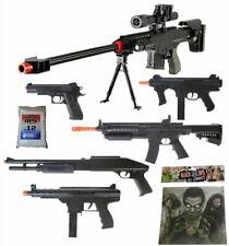 Dark Op Airsoft Sniper Gun Rifle + Shotguns + Pistol + Tec9 + SMG + Targets BBs