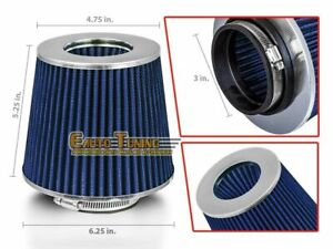 """3"""" Short Ram Cold Air Intake Filter Round/Cone Universal BLUE For Jeep 1"""