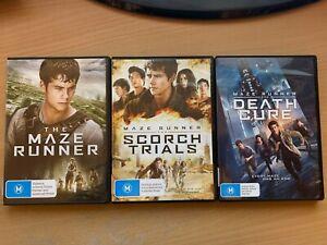 The Maze Runner Trilogy Scorch Trials Death Cure Dylan O'Brien (DVD 3-Disc)R4 GC