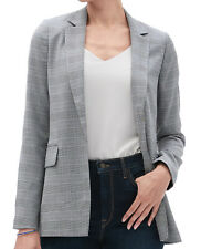 Banana Republic Women's Glen Plaid Soft Long Blazer, Black/ White, Sz 2, 1366-3