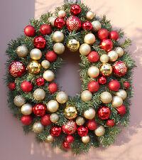 "22"" Christmas Holiday Gold Red Bulbs Pine Wreath"