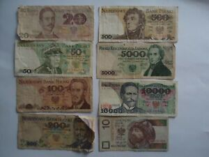 Poland 8 Different Banknotes 1982-1994