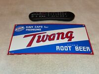 "VINTAGE ""TWANG VITAMIN ROOT BEER"" 11"" PORCELAIN METAL SODA POP GASOLINE OIL SIGN"