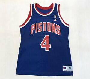 Vintage Champion NBA Detroit Pistons JOE DUMARS #4 Jersey Blue Sz 40 USA