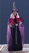 Lifesize Witch With Animated Lighted Cauldron Halloween Stand Prop