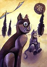 😼 Cat Dreams Girl Abstract Cubism Surreal Alice Wonderland Yarn Toy ACEO Print❢