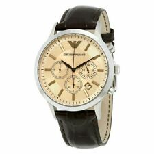 EMPORIO ARMANI AR2433 Mens dress Watch Brown leather Chronograph 43mm