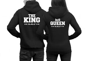 King Queen Pärchen Pullover Wunschdatum The King His Queen Partner Pullover WOW