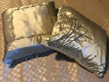 "2 Satin Cotton Throw Pillows Cushion Home Decorative 15""X11"" 16""x16 Light Olive"
