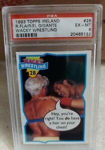 1993 Topps Ireland Wacky Wrestling Ric Flair El Gigante PSA 6 EX-MT #28 ONLY 2!