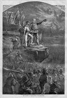 ITALY, UPRISING OF ITALY BY THOMAS NAST, VIVA ITALIA, FLAG, BUGLE, SOLDIERS