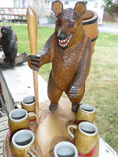 "12"" ANTIQUE BLACK FOREST BEAR WOOD CARVING STATUE VINTAGE SWISS RARE LIQUOR SET"