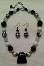 Vintage Chunk Lucite and Beaded Necklace/Matching Earrings