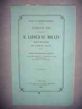 Droit: Discours de M. Latour du Moulin député au corps législatif, 1865, BE