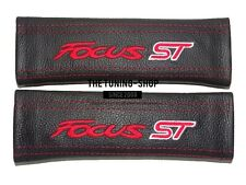 """2x Seat Belt Covers Pads Black Leather """"focus ST """" Red Embroidery for Ford"""