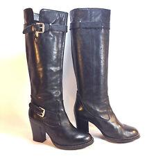 wonderful MICHAEL KORS black leather double buckle dress boots 5.5 6