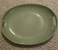 """Longaberger Pottery Woven Traditions Heirloom Sage Oval Handled Platter 15"""""""