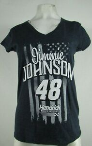 Jimmie Johnson #48 NASCAR Women's Touch Dark Gray V-Neck Shirt