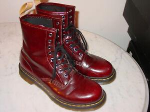 WOMENS DOC MARTENS Vegan Cherry Red 14585 8 Eye Arcadia Boots! Size 10