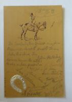 """""""Pferde, Reiter, Hufeisen"""" 1899, Prägekarte ♥  (34661)"""