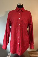 Ralph Lauren Women's Red Linen Long Sleeve Shirt Size Medium