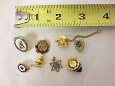 Lot 8 Various Fraternal, Souvenir, Business Lapel Pins, Pinbacks, Tie Tacks