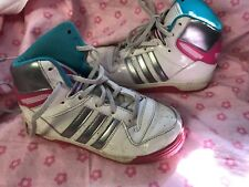 Adidas Sneakers Size 10 High Tops Gorls Toddler Whote Pink Blue Design