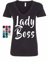 Lady Boss Women's V-Neck T-Shirt Funny Women's Rights Glam Girl Power Feminist