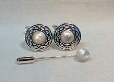 Mother of Pearl Celtic rope design Cufflinks + Cravat/Tie Pin. Silver finish.