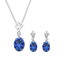 Sterling Silver Oval Cut Blue & White Sapphire Solitaire Pendant & Earrings Set