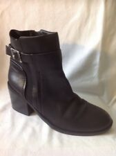 Tu Black Ankle Leather Boots Size 7