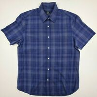 Sportscraft Men's Size M Short Sleeve Shirt Button Front Blue Collar - SE31
