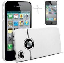 White & Silver Chrome Funda Rígida Para Iphone 4 4s 4g Con Protector De Pantalla Y Paño