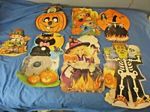 Vintage Halloween Fall Thanksgiving 80s 90s Card Paper Window Decorations LOT