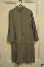 Shirt-dress BNWT Sz 8 $179 MING khaki-brown light crinkle ruffle neck 3/4 sleeve
