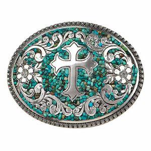 Nocona Women's Oval Cross With Turquoise Belt Buckle 37914