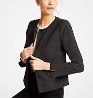 Ann Taylor Women's Size 10P Petite Dobby Peplum Jacket Blazer Black Multi