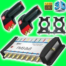 Multischalter 9/8 Opticum Profi Line Gold + 2x Quattro Red Rocket LNB Opticum 3D