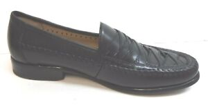 Domani Size 8.5 Black Leather Loafer New Mens Shoes