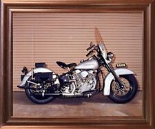 Silver Panhead Harley Davidson Police Motorcycle Wall Art Decor Framed Picture