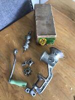 Vintage NO 66 meat food mincer grinder box England Green Handle