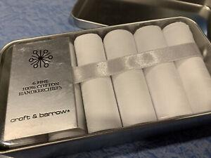 Croft & Barrow 6 Fine Men's White Cotton Handkerchiefs in Tin Nib