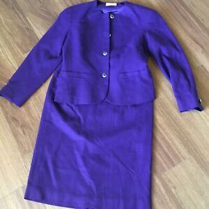 Pendelton Womens 6 Virgin Wool Skirt Jacket Suit Purple Lined Career USA Vintage