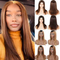Fashion Brown Long Straight Full Wigs 100% Remy Malaysian Human Hair Wigs Us C23