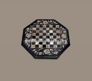 Black Unique Chess Top Table Mop Pietradura Design Handmade Collectible Gift Art
