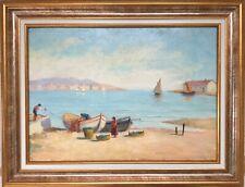 Paul ORTIOU 1807-?Pêcheurs dans la rade.Vers 1840.Huile/carton.SBD.30x45.Cadre