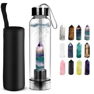Natural Crystal Healing Wand Elixir Quartz Water Bottles Glass Gravel Stone Cup