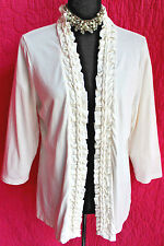 COLDWATER CREEK Ivory Cotton Blend Knit Jacket L 14 Ruffle & Braid Trim 3/4 Slve