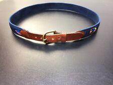 Leather Man Ltd Sz 34 Tropical Fish Web Belt Leather Ends Brass Buckle