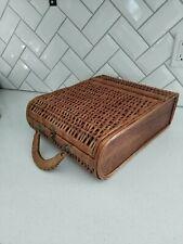Vintage closing wicker rectangular basket for picnik, display, storage